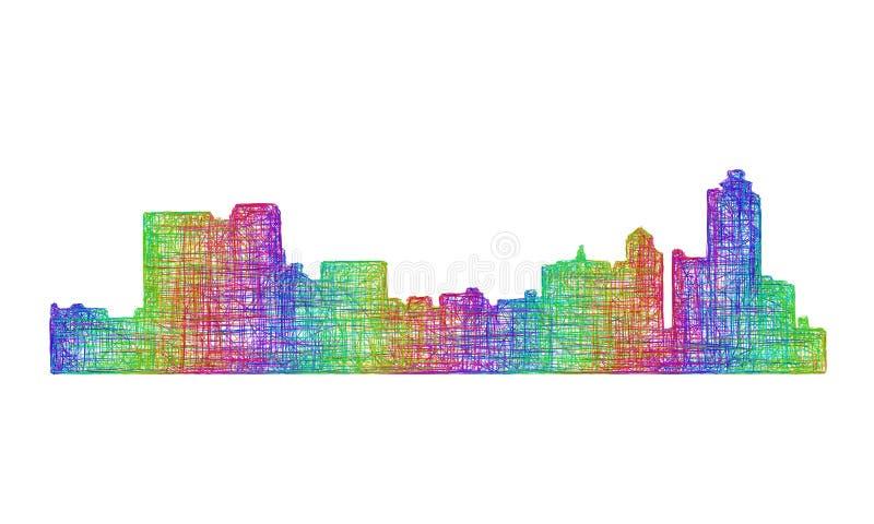 De horizonsilhouet van Memphis - veelkleurig lijnart. stock illustratie