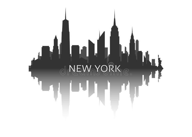 De horizonsilhouet van New York met bezinning stock illustratie