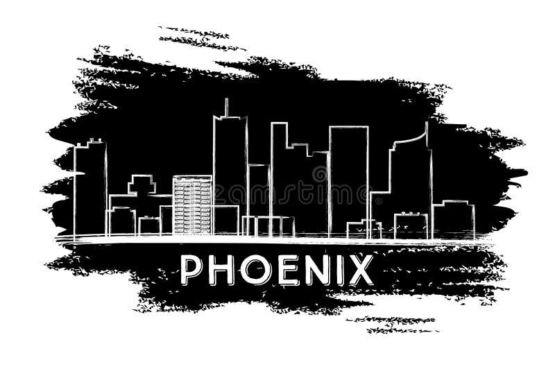 De horizonsilhouet van Phoenix Hand getrokken schets stock illustratie