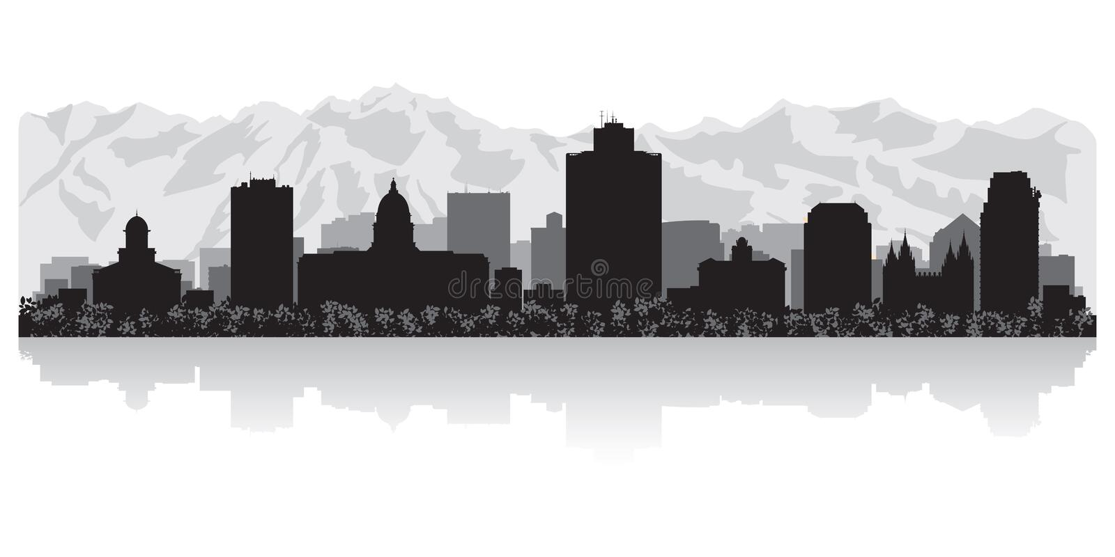 De horizonsilhouet van Salt Lake City Utah vector illustratie