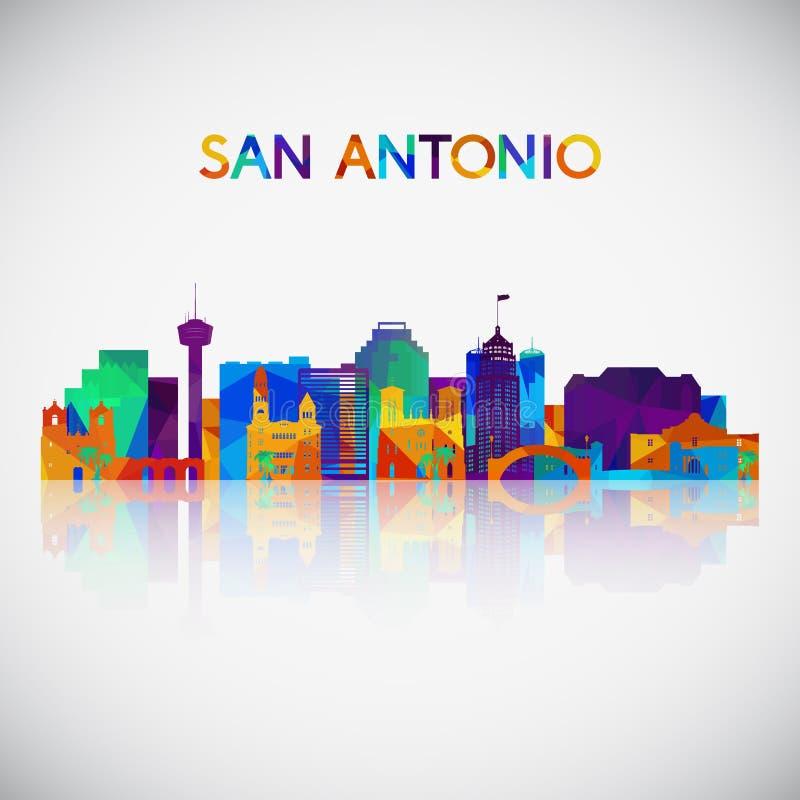 De horizonsilhouet van San Antonio in kleurrijke geometrische stijl stock illustratie