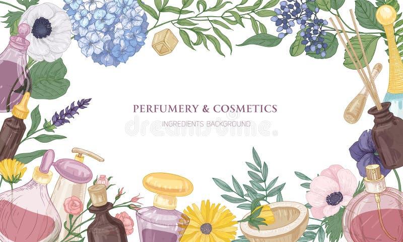De horizontale achtergrond met kader of grens bestond uit geurige parfumingrediënten in glas decoratieve flessen vector illustratie