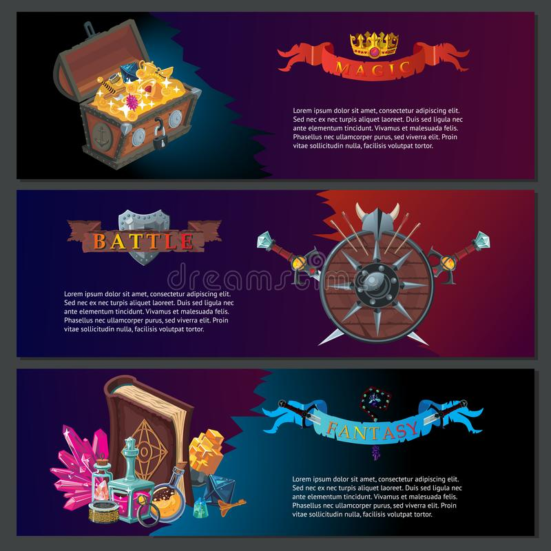 De horizontale achtergronden van het fantasiespel Magische Apparatuur Vectorbeeldverhaalinzameling royalty-vrije illustratie