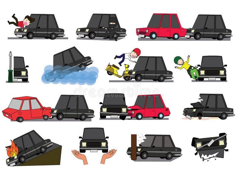 De horizontale auto van de meningsbestuurder van ongeval op de weg royalty-vrije illustratie