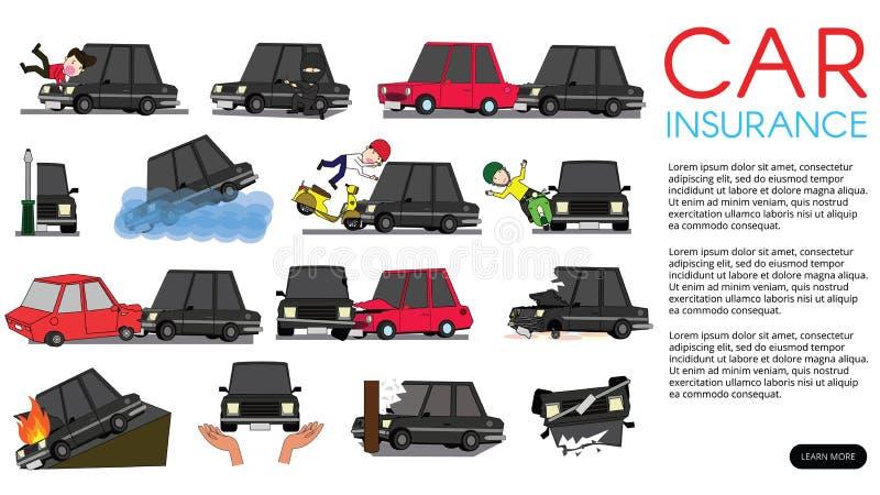 De horizontale auto van de meningsbestuurder van ongeval op de weg stock illustratie