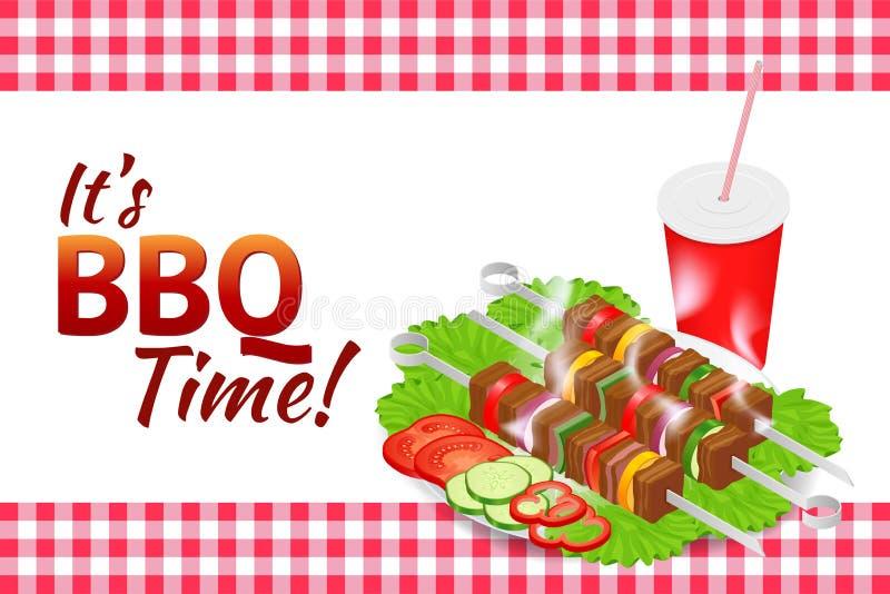 De horizontale banner van de barbecuepartij Het voedsel van de grillzomer Picknick kokend apparaat Vlakke isometrische illustrati vector illustratie