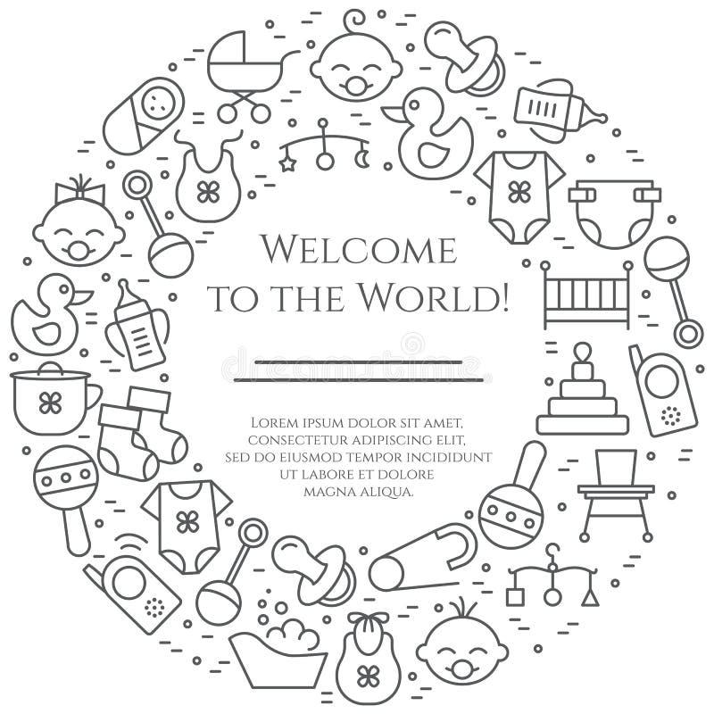 De horizontale banner van het babythema Pictogrammen van baby, kinderwagen, voederbak, mobiel, speelgoed, rammelaar, fles, luier, vector illustratie