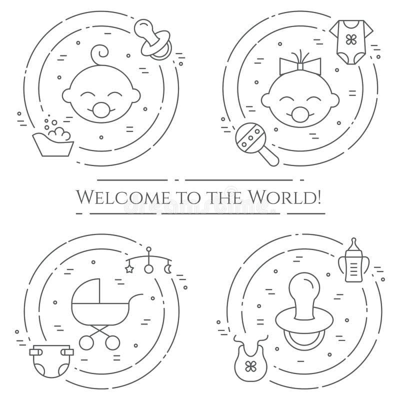 De horizontale banner van het babythema Pictogrammen van baby, kinderwagen, voederbak, mobiel, speelgoed, rammelaar, fles, luier, stock illustratie