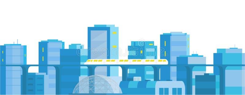 De horizontale banner van het stadslandschap Moderne architectuur, gebouwen, wolkenkrabbers Trein die de spoorweg van de spoormet vector illustratie