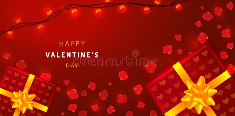 De horizontale banner van de valentijnskaartendag met roze bloemblaadjes, giftdozen en slingers De illustratie van de groetkaart  royalty-vrije illustratie