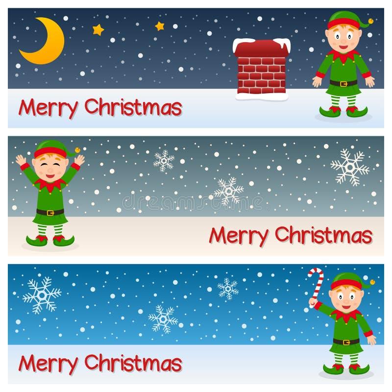 De Horizontale Banners van Kerstmiself royalty-vrije illustratie