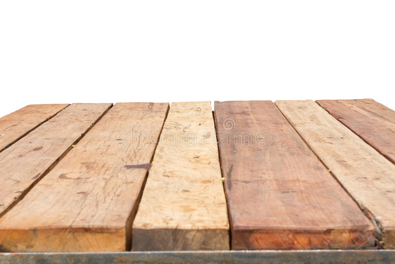 De horizontale foto van oude wijnoogst planked houten lijst in perspectiv stock afbeelding