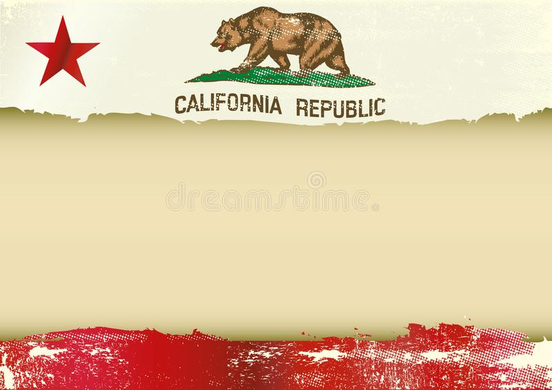De horizontale gekraste vlag van Californië stock illustratie