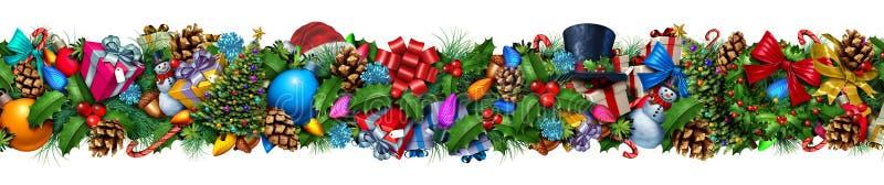 De Horizontale Grens van de Kerstmisdecoratie royalty-vrije illustratie