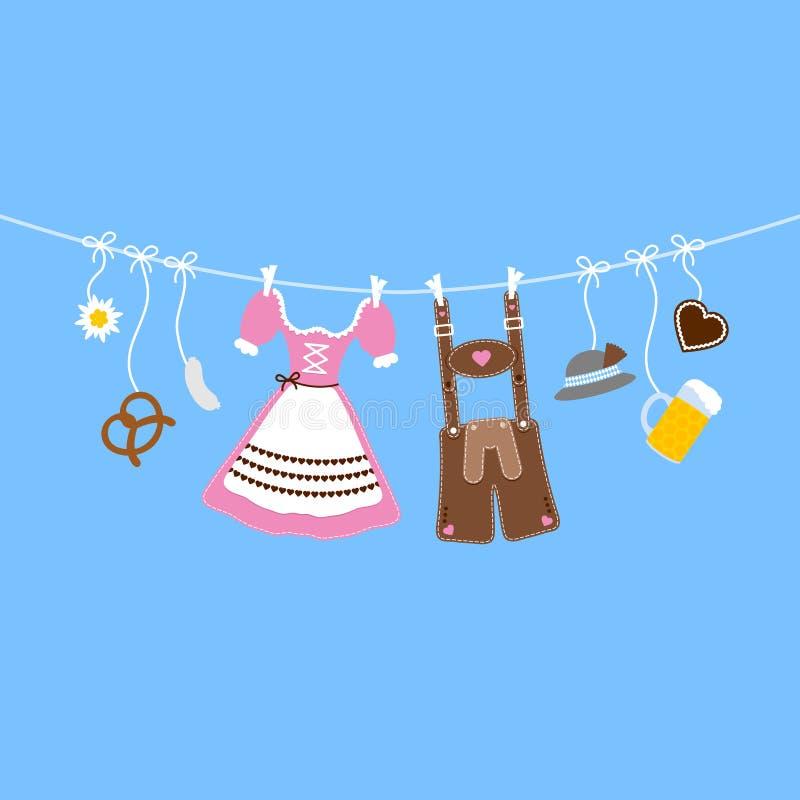 De horizontale Hangende Oktoberfest-Pictogrammen buigen Roze en Bruin Blauw Als achtergrond stock illustratie