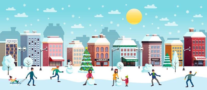 De Horizontale Illustratie van de de winterstad royalty-vrije illustratie