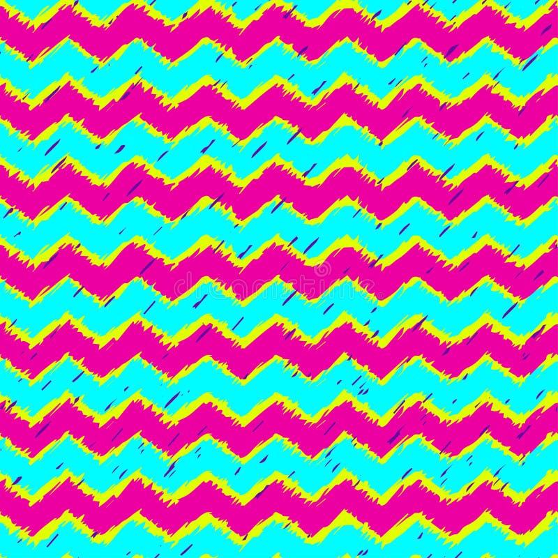 De horizontale modieuze geel, roze kleuren van het zigzagneon en ultraviolet met vlekken royalty-vrije illustratie