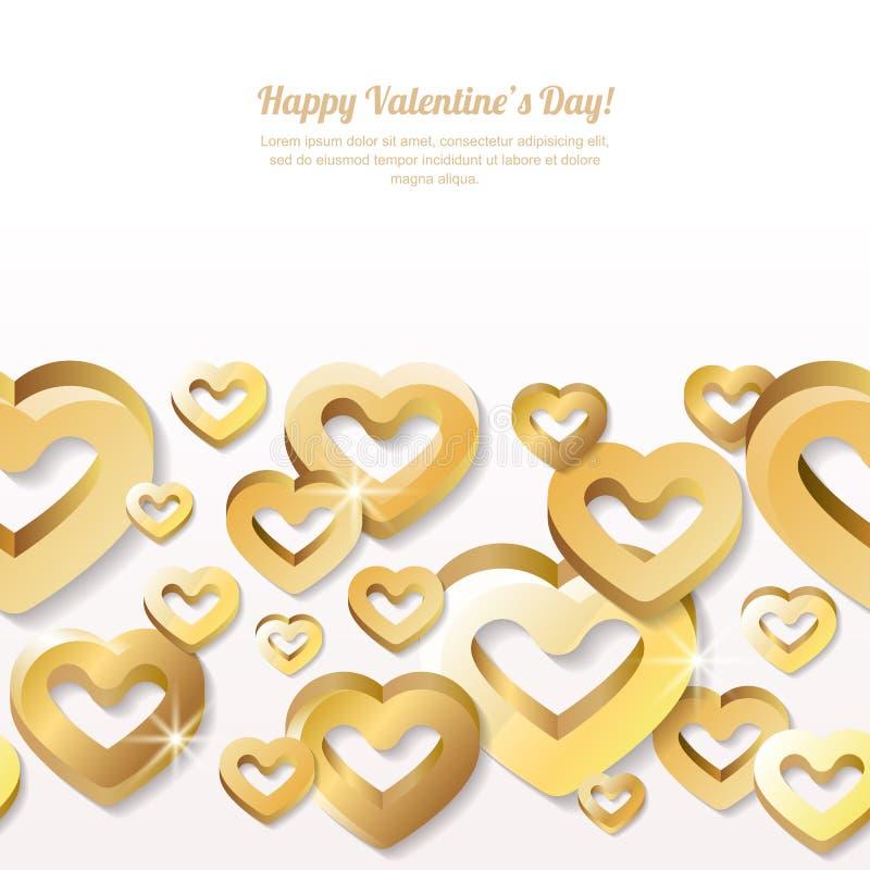De horizontale naadloze achtergrond van de valentijnskaartendag met 3d gestileerde gouden harten vector illustratie