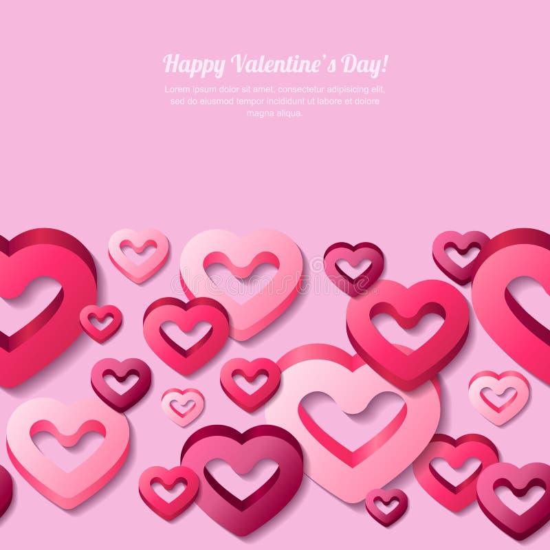 De horizontale naadloze achtergrond van de valentijnskaartendag met 3d gestileerde roze harten vector illustratie
