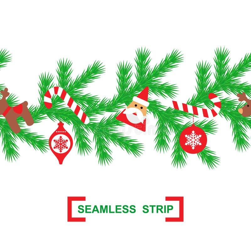 De horizontale naadloze achtergrond van Kerstmis Vector illustratie naadloze strook van spartakken, Santa Claus, suikergoed, hert vector illustratie