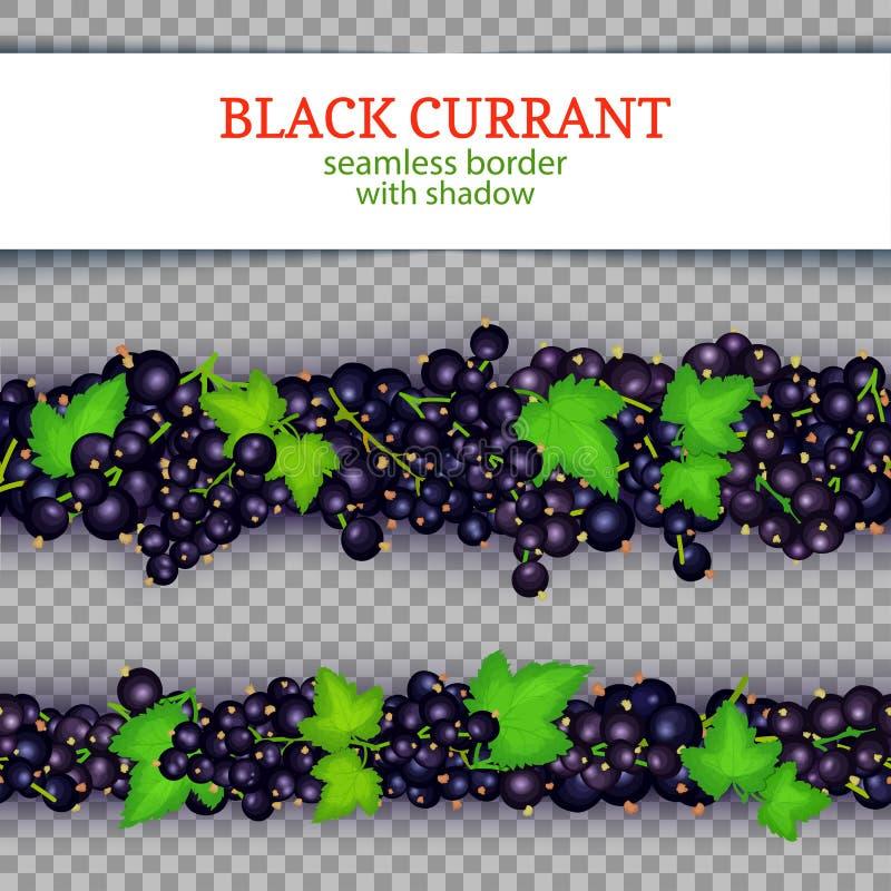 De horizontale naadloze grenzen van het zwarte besfruit De vector Brede en smalle eindeloze strook van de illustratiekaart met zw stock illustratie