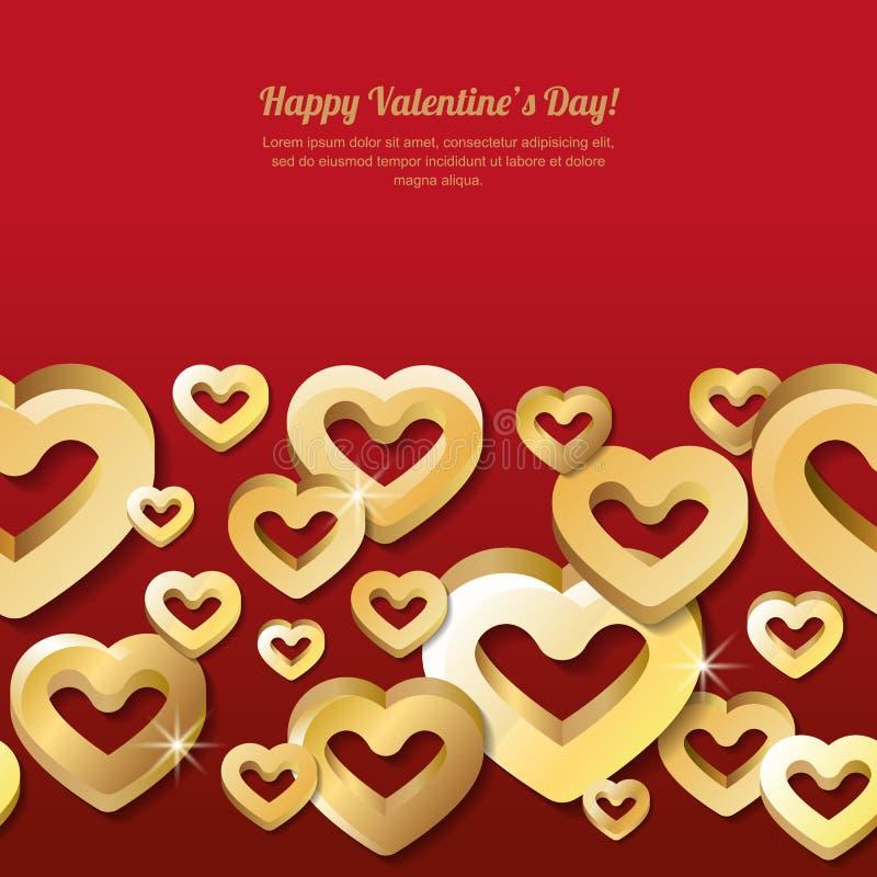 De horizontale naadloze rode achtergrond van de valentijnskaartendag met 3d gestileerde gouden harten stock illustratie