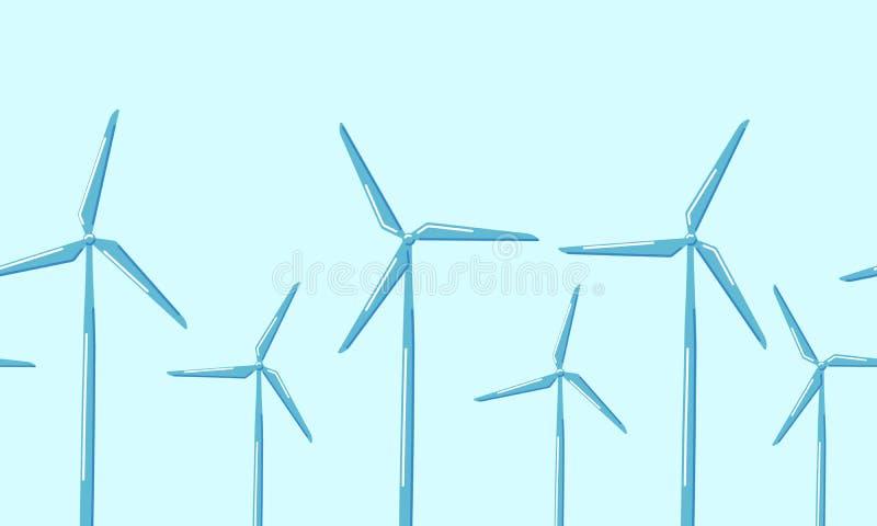 De horizontale naadloze turbines van de patroonwind op een blauwe achtergrond vector illustratie