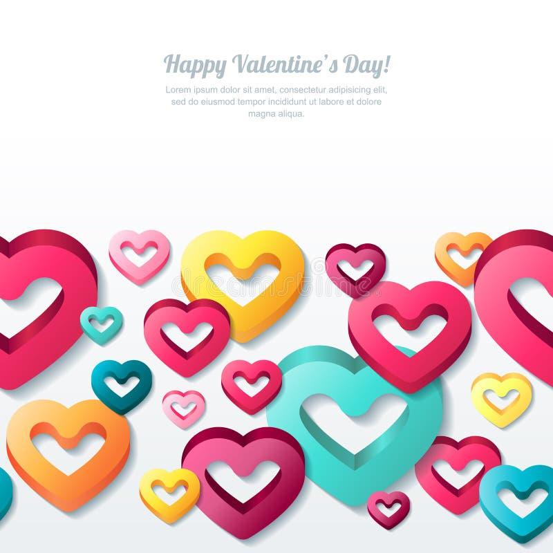 De horizontale naadloze witte achtergrond van de valentijnskaartendag met 3d gestileerde veelkleurige harten vector illustratie