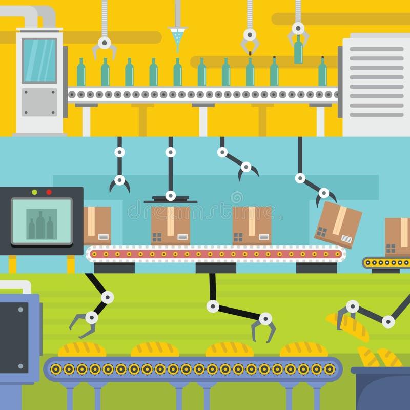De horizontale reeks van de productielijnbanner, vlakke stijl vector illustratie