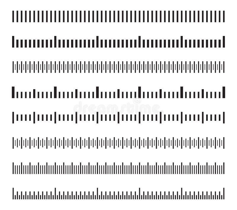 De horizontale schalen van de maatregelenafstand, kaliberbepaling die de vector geïsoleerde reeks meten van grootteindicatoren stock illustratie