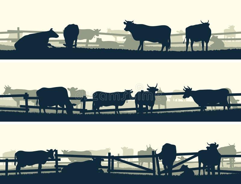 De horizontale vectorgebieden van het bannerlandbouwbedrijf met omheining en landbouwbedrijfdieren royalty-vrije illustratie