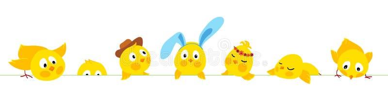 De horizontale vectorgrens van Pasen met leuke kuikens stock illustratie