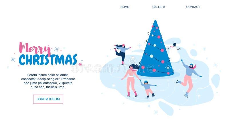 De horizontale Vlakke Bannervector huwt Kerstmis vector illustratie