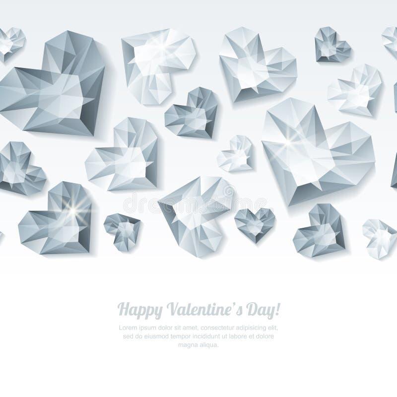 De horizontale witte achtergrond van de valentijnskaartendag met 3d zilveren hartdiamanten, gemmen, juwelen stock illustratie