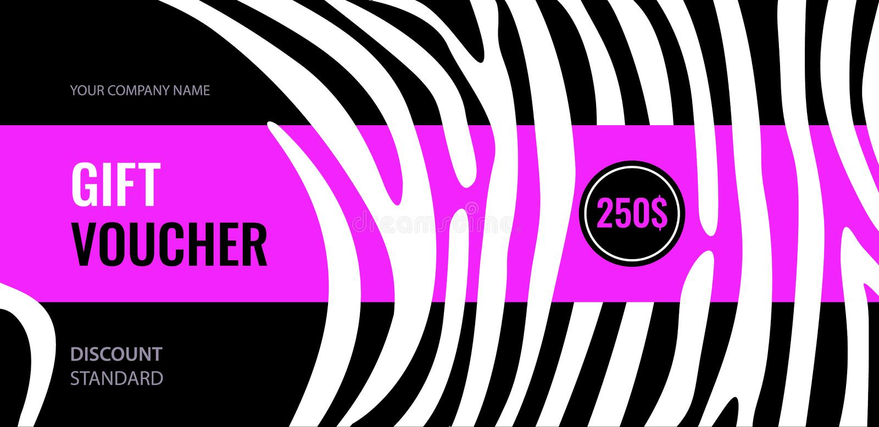 De horizontale witte strepen van de giftbon op zwarte achtergrond Helder roze abstract ontwerp stock illustratie