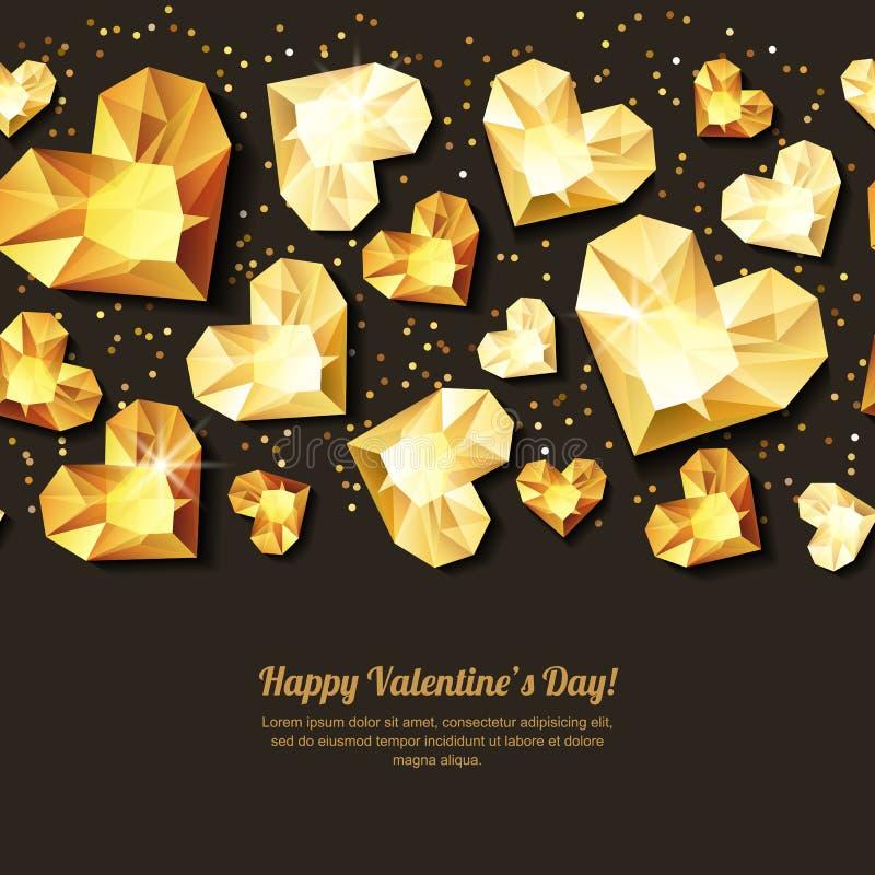 De horizontale zwarte achtergrond van de valentijnskaartendag met 3d gouden hartdiamanten, gemmen, juwelen stock illustratie