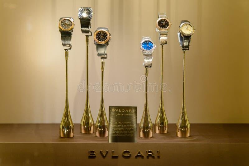 De horloges van de Bulgariluxe op vertoning, Bangkok, Thailand royalty-vrije stock afbeeldingen