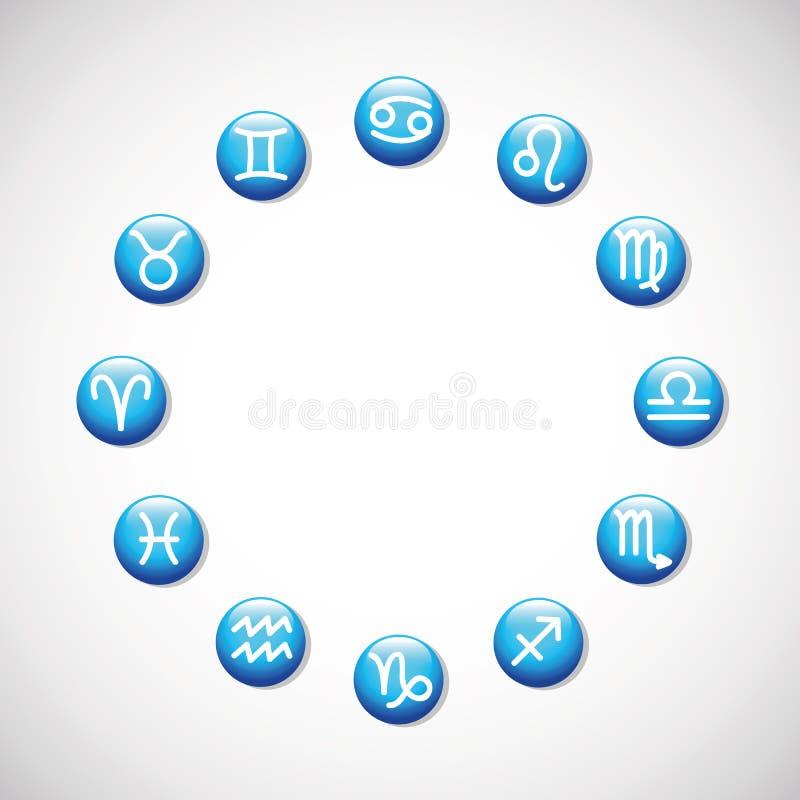 De horoscoop astrologische symbolen van dierenriemtekens in een cirkel stock illustratie