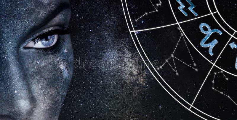 De horoscoopteken van Steenbok De achtergrond van de de nachthemel van astrologievrouwen royalty-vrije stock afbeelding