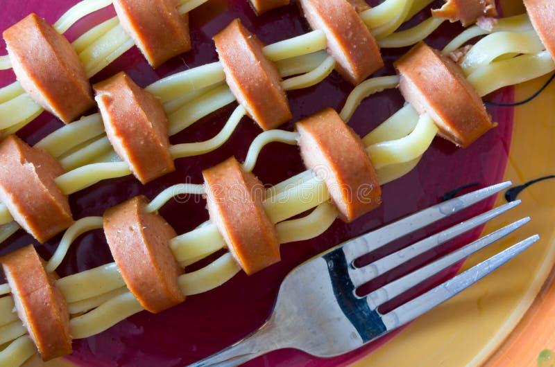 De Hotdogs van Fettuccine royalty-vrije stock foto's