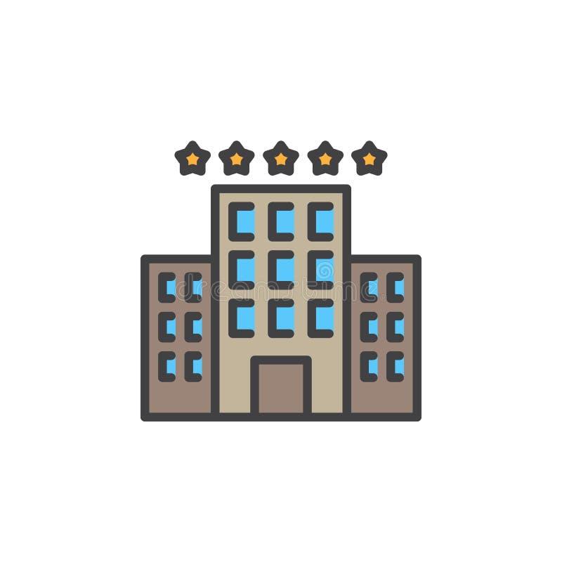 De hotelbouw met het pictogram van de sterrenlijn, gevuld overzichts vectorteken, lineair kleurrijk die pictogram op wit wordt ge stock illustratie