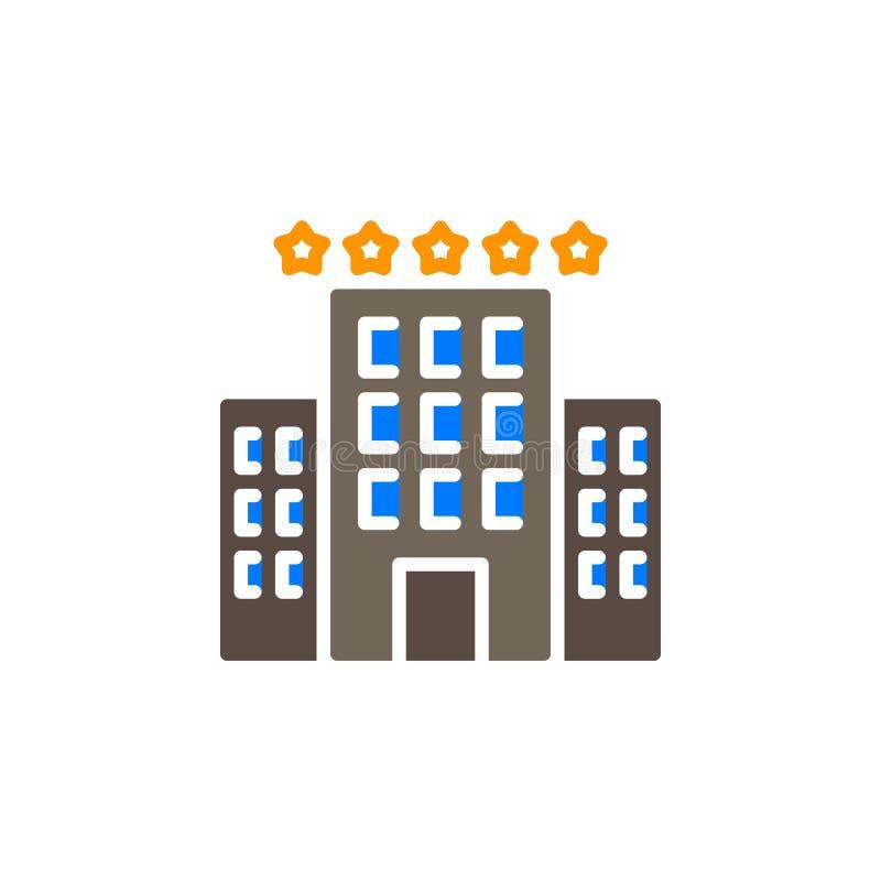 De hotelbouw met het vector, gevulde vlakke teken van het sterrenpictogram, stevig kleurrijk die pictogram op wit wordt geïsoleer stock illustratie