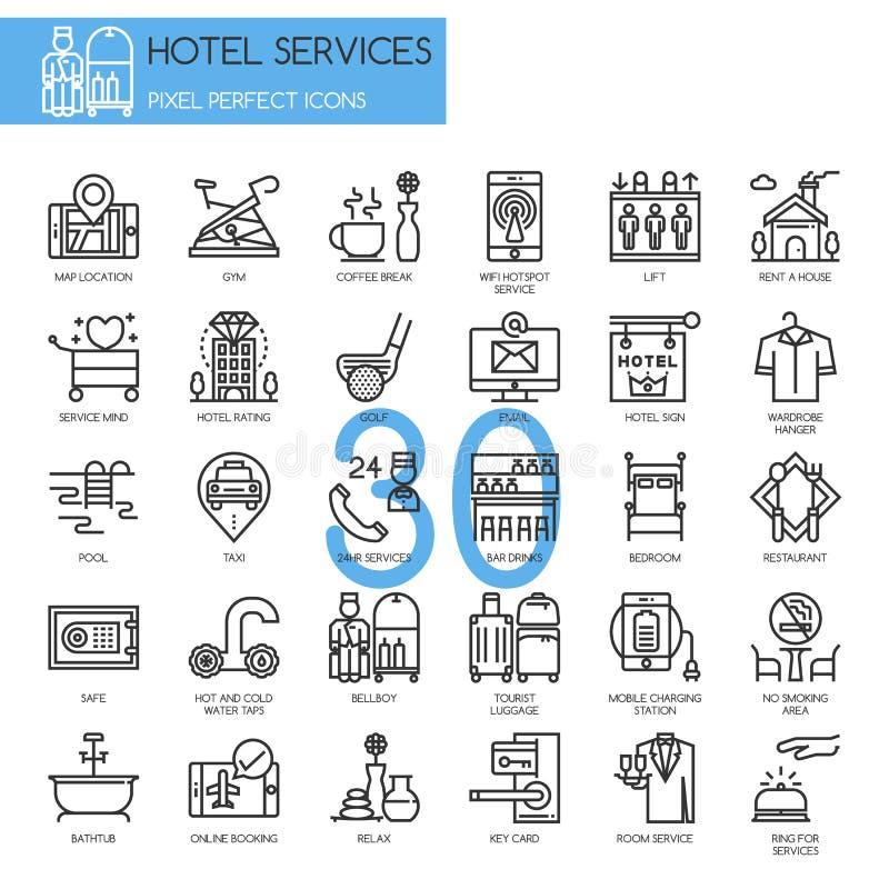 De hoteldienst, dunne geplaatste lijnpictogrammen royalty-vrije illustratie