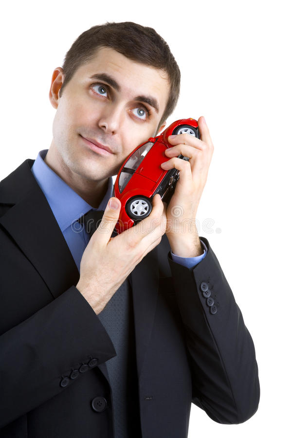 De houdende van mens van de auto stock afbeelding