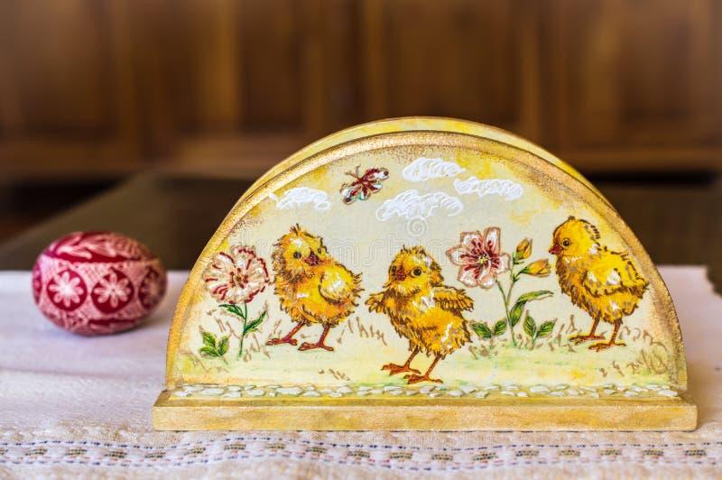 De houder van het Decoupageservet, Pasen-decoratie, de lentedecor stock foto