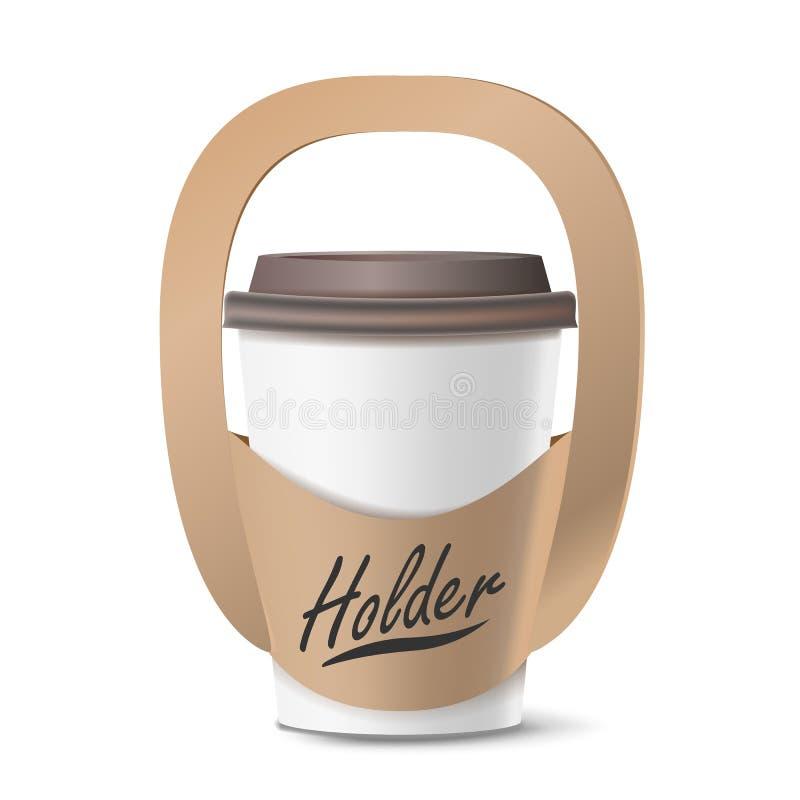 De Houdersvector van de koffiekop Realistisch model Lege Verpakking voor het Dragen Één Kop Haal de Kophouder weg van de Koffieko vector illustratie