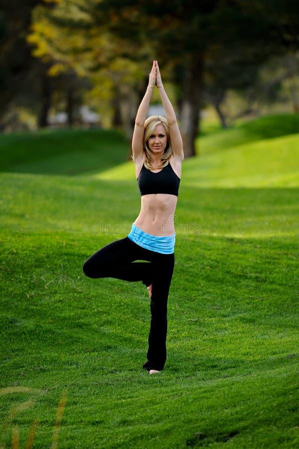 De houding van de yoga in het park stock afbeelding