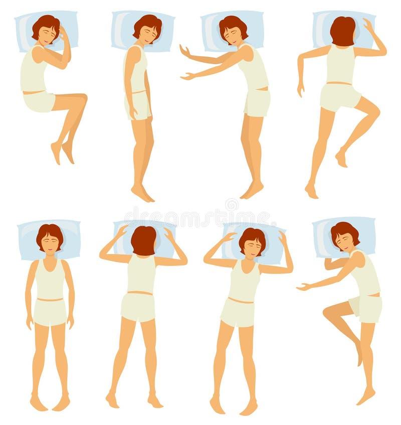 De houdingen van de vrouwenslaap, ontspannende vrouwelijke slaap in verschillend stelt in slaapkamer - vectorreeks royalty-vrije illustratie