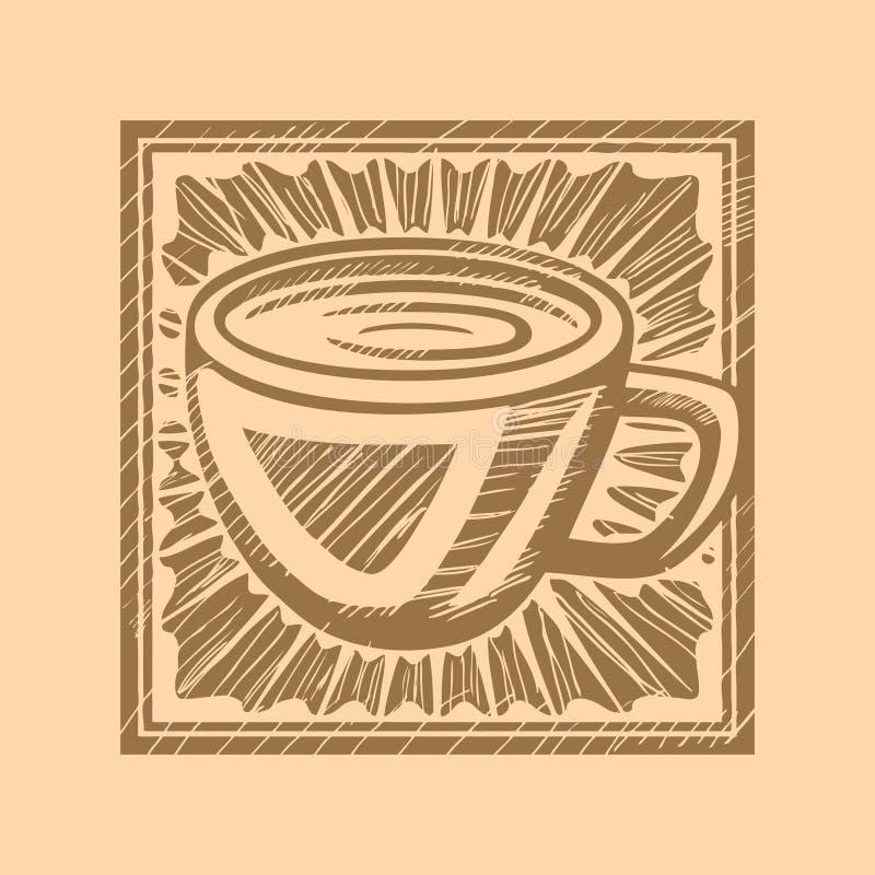 De Houtdruk van de koffie royalty-vrije illustratie