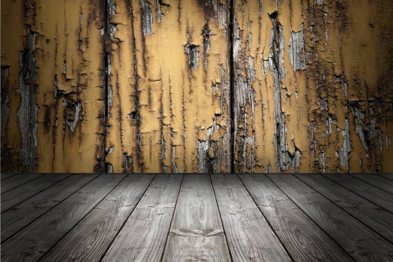 De houten achtergrond en de vloer van de grungescène Doos houten grijze raad stock afbeeldingen